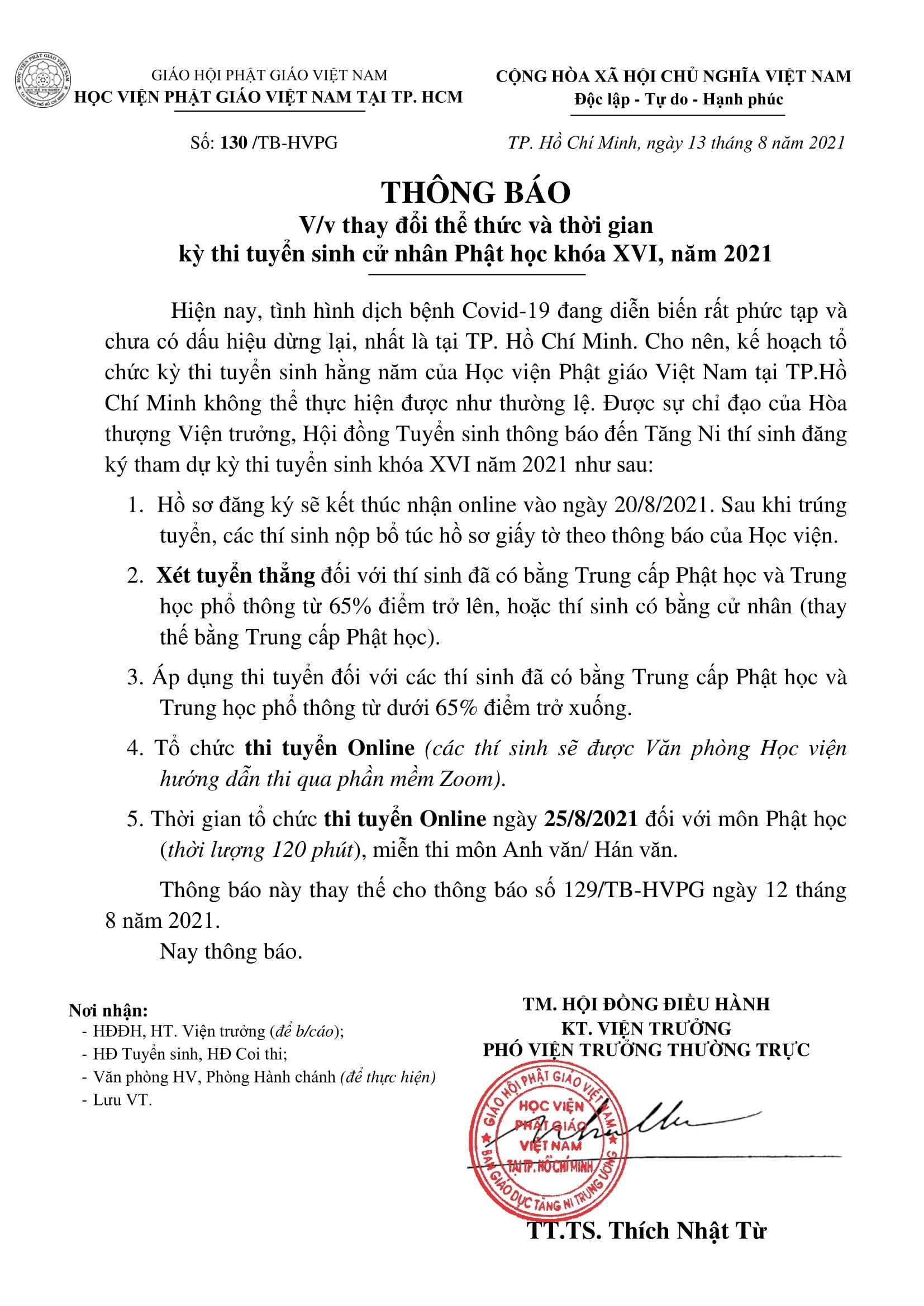 Học Viện Phật Giáo VN Tại Tp.HCM Xét Tuyển Thẳng Thí Sinh Có Bằng Trung Cấp
